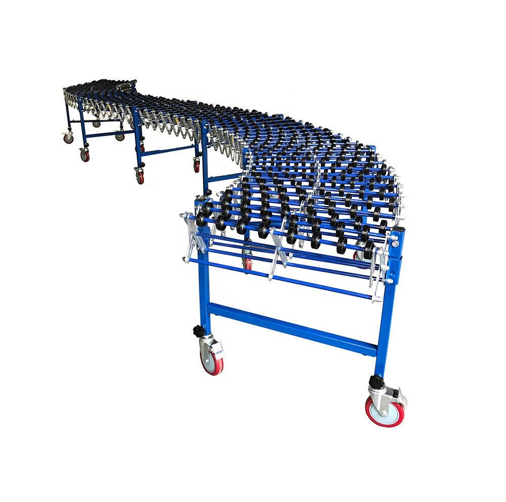 Telescopic gravity plastic skate wheel unloading conveyor