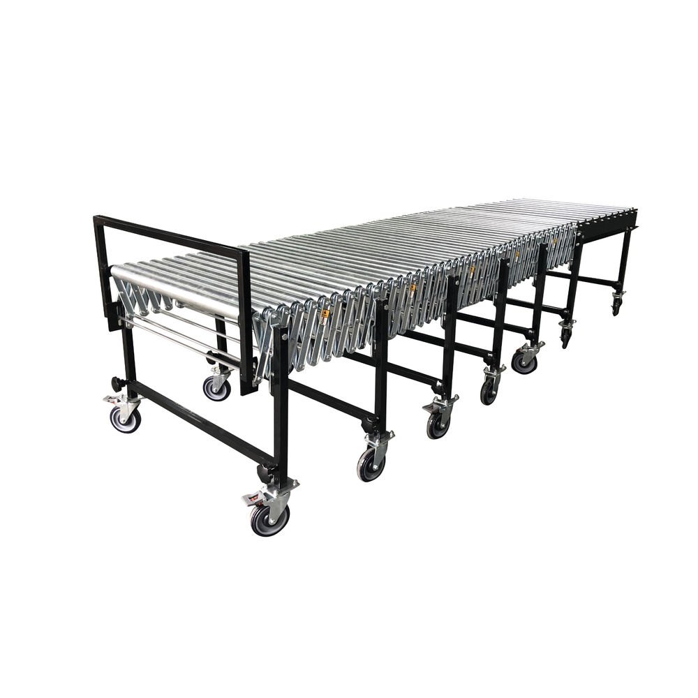 Gravity flexible steel roller conveyor for loading and unloading for logistic line
