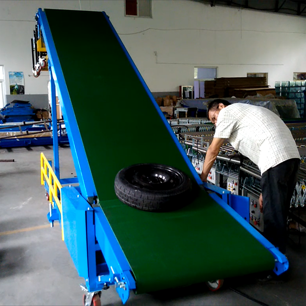 Good quality inclining belt conveyor machine for container load truck tires