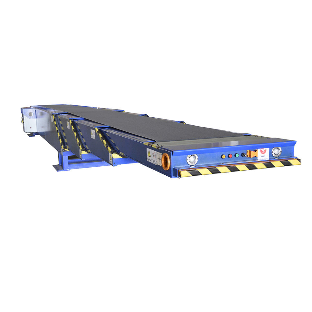 Telescopic motorized conveyor belt container loading belt conveyor
