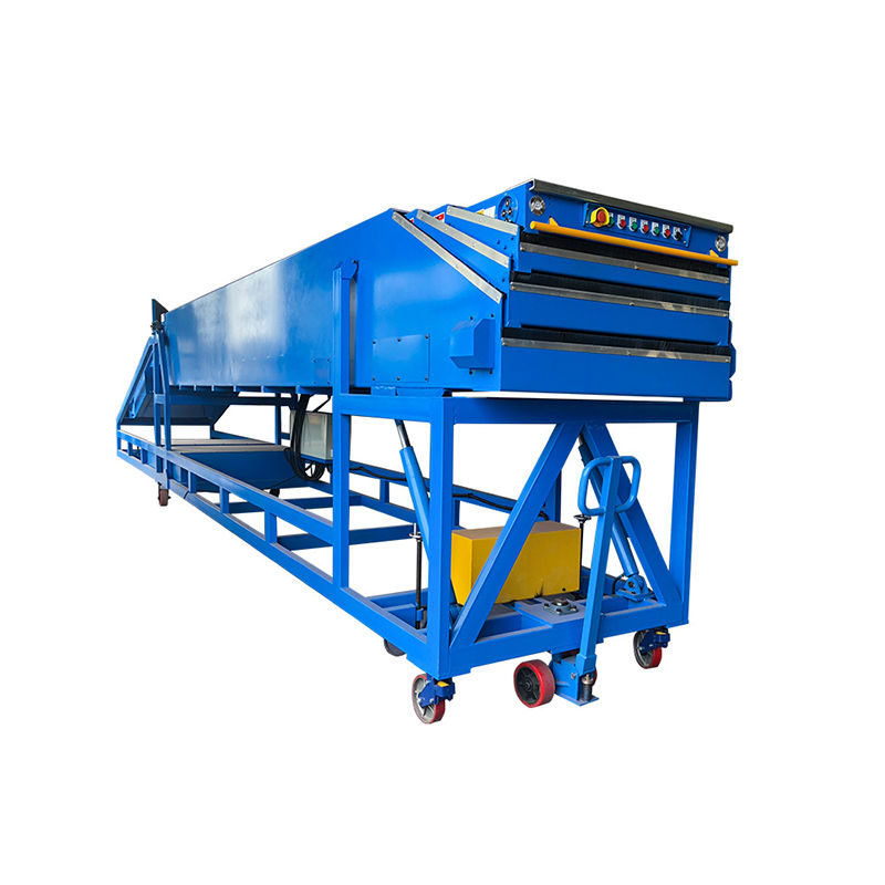 Inclined telescopic belt conveyor for load truck