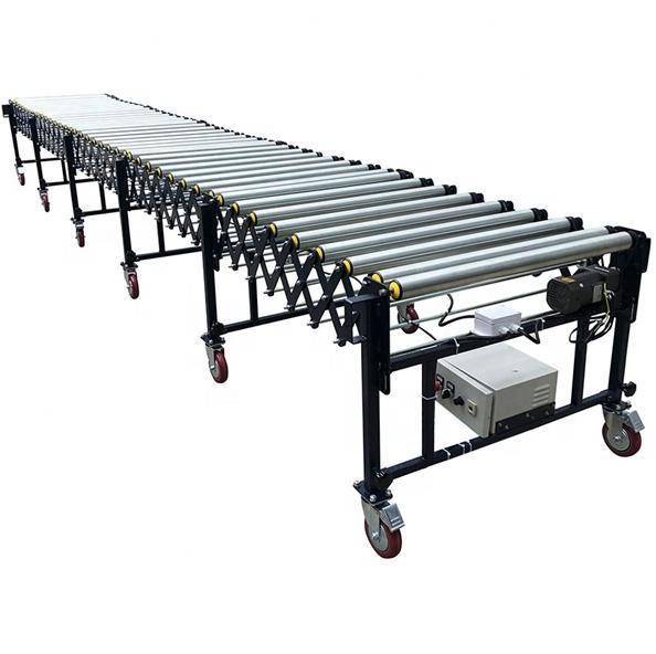 Motorized telescopic heavy duty  roller conveyor