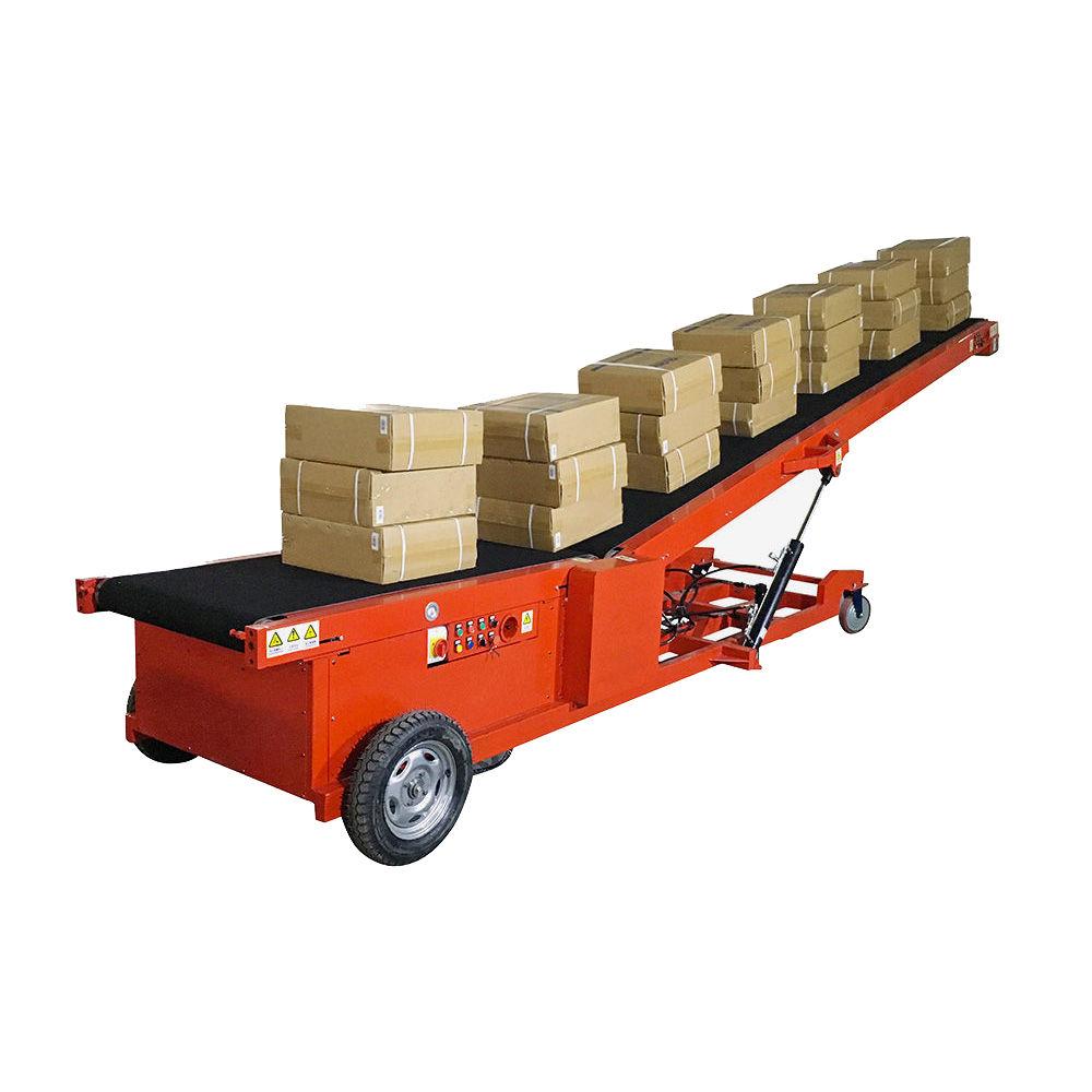 Mobile inclined belt conveyor for loading unloading furniture boxes
