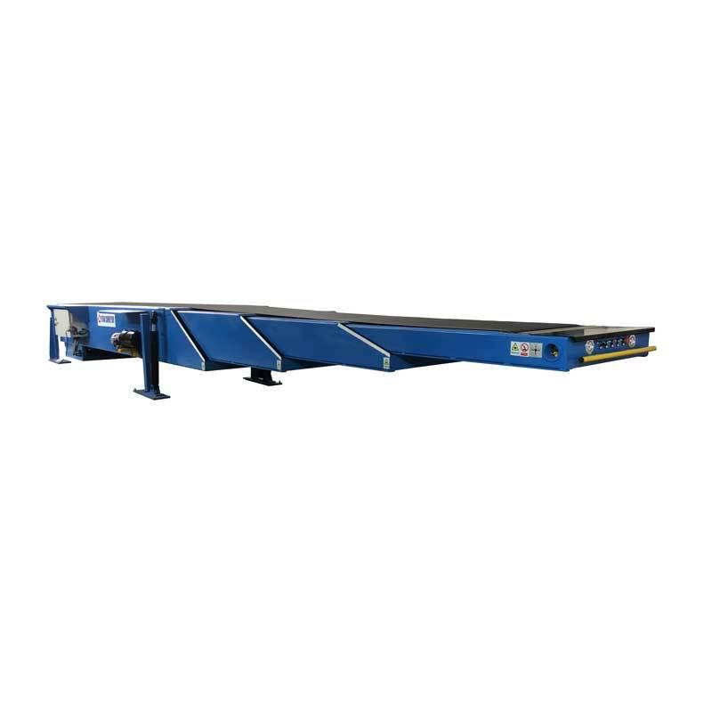 Telescopic conveyor belt for container loading unloading