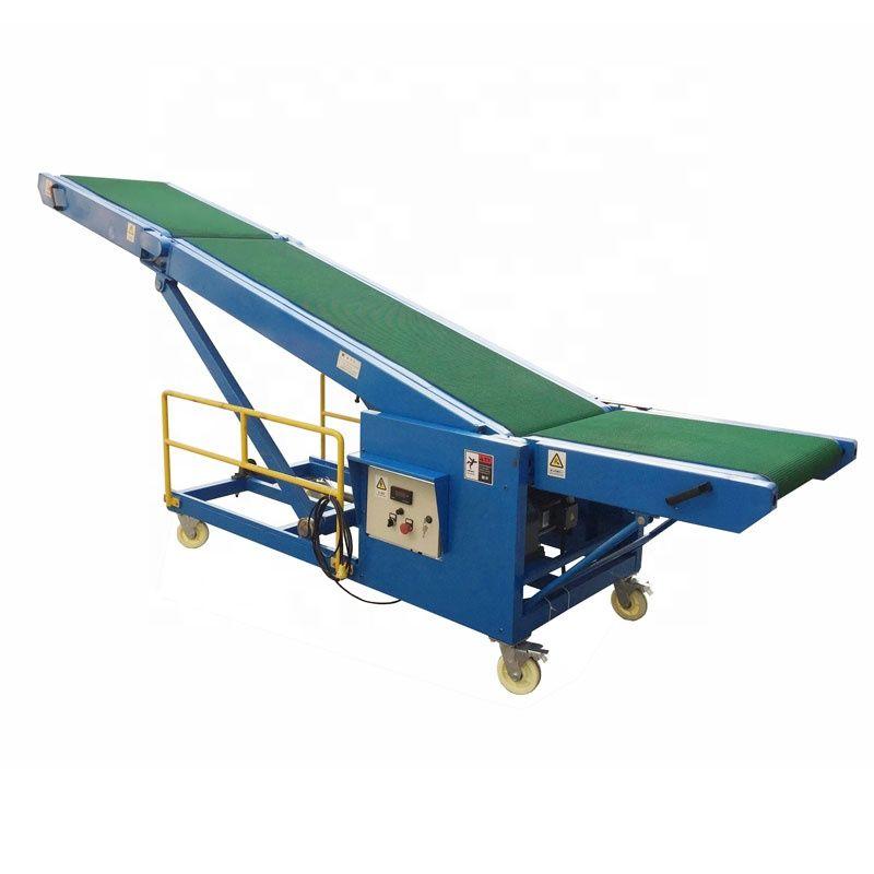 Inclined belt conveyor system local conveyor loading goods onto trucks