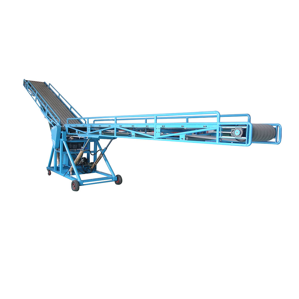Hydraulic loading unloading belt conveyor system custom double wing loading conveyor