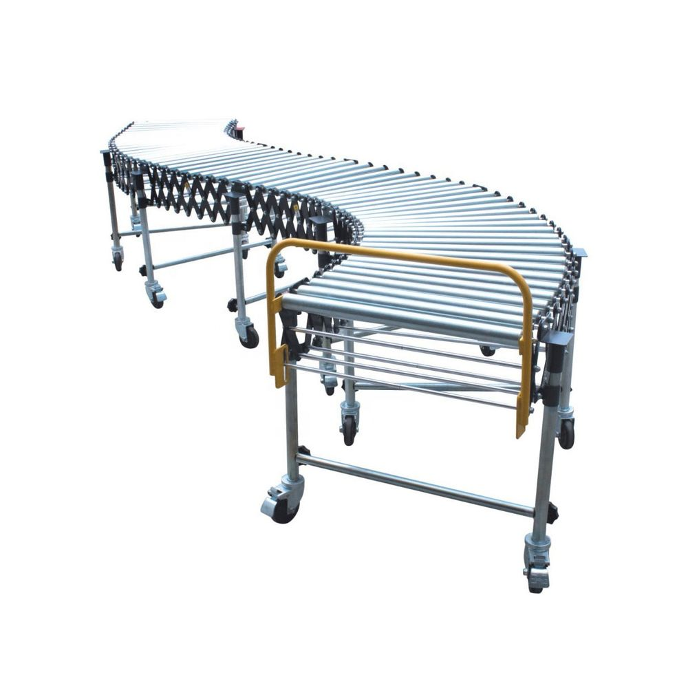 manual gravity expandable roller conveyor for container unloading conveyor