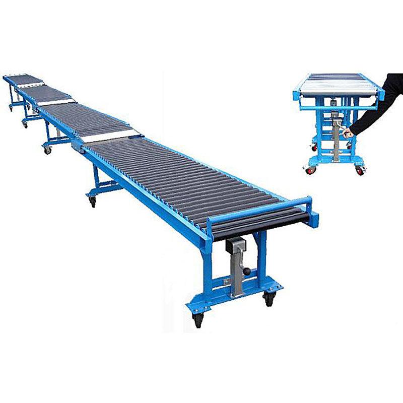 Portable telescopic roller bed conveyor for truck unloading