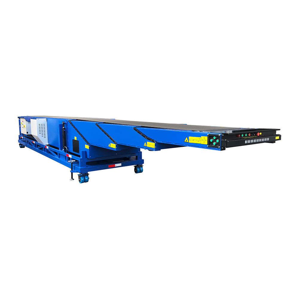 Portable mobile telescopic belt conveyor for loading unloading grain bags into containers trucks