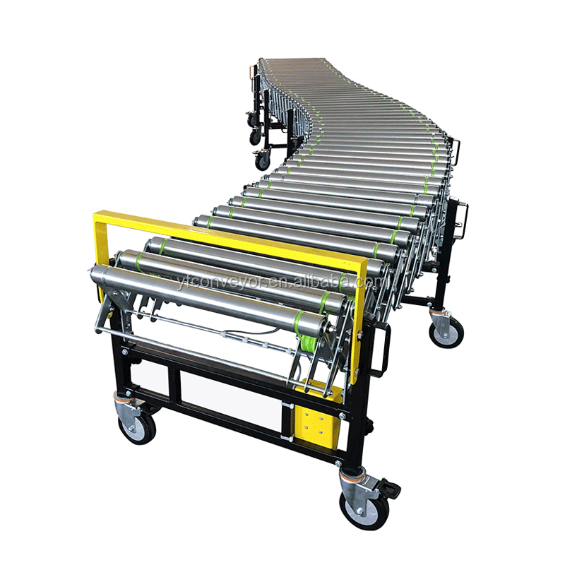 Flexible Powered Extendable Retractable Roller Conveyor