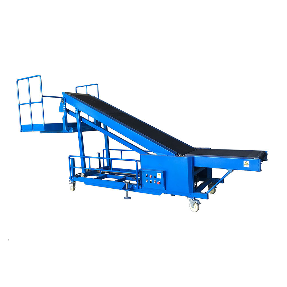 New design bag loading conveyor for truck loading with operator standing platform