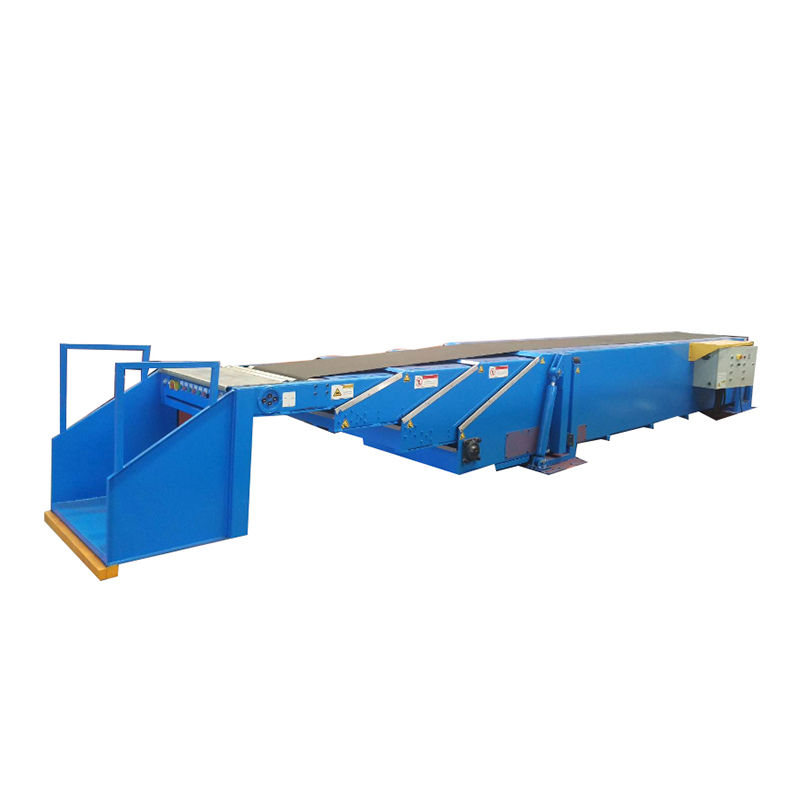 Telescopic belt conveyor systems with operator standing platform