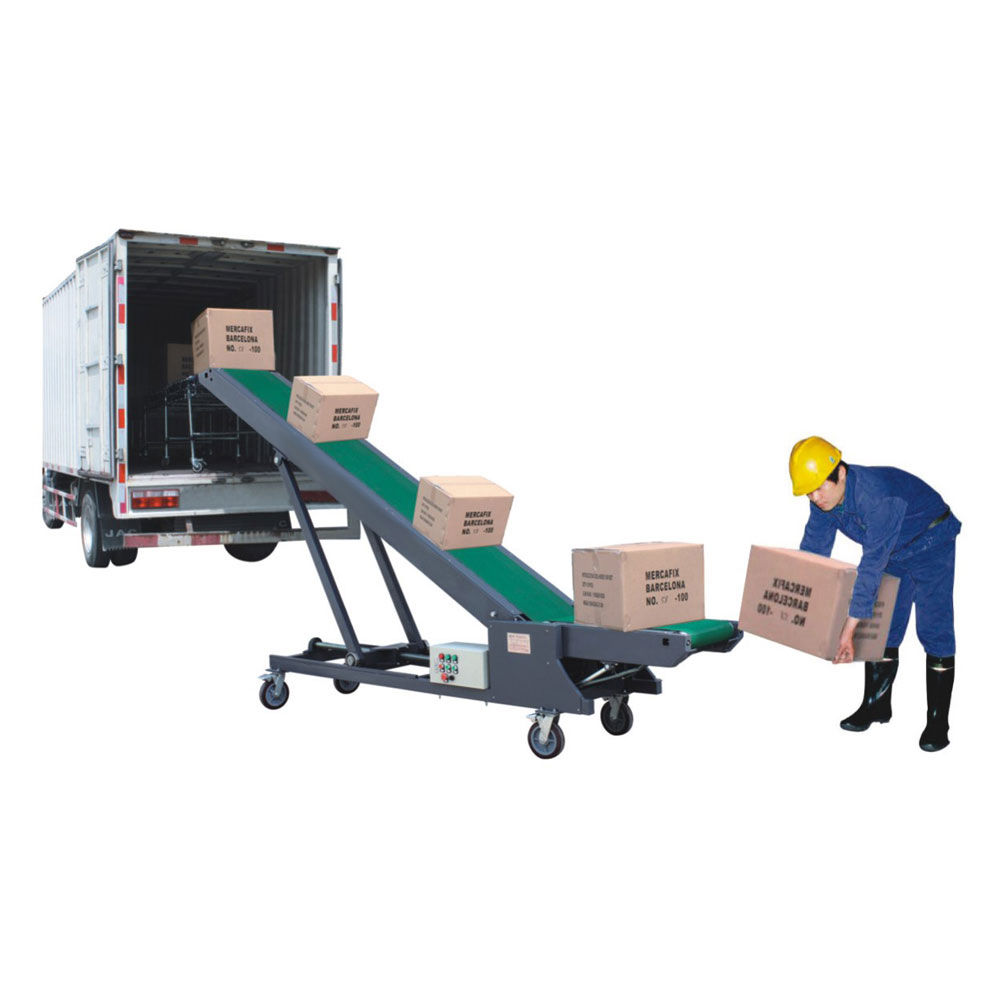 Vertical loading unloading belt conveyor for port mobile truck loading conveyor