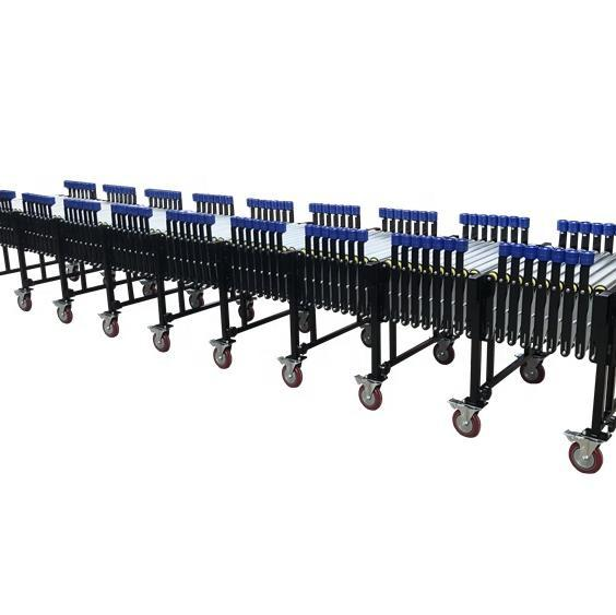 portable expandable gravity roller conveyor with side guide wheels