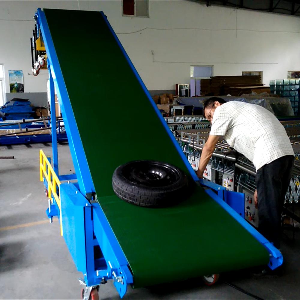 Telescopic belt conveyor for a tyre handling tyre loading unloading belt conveyor