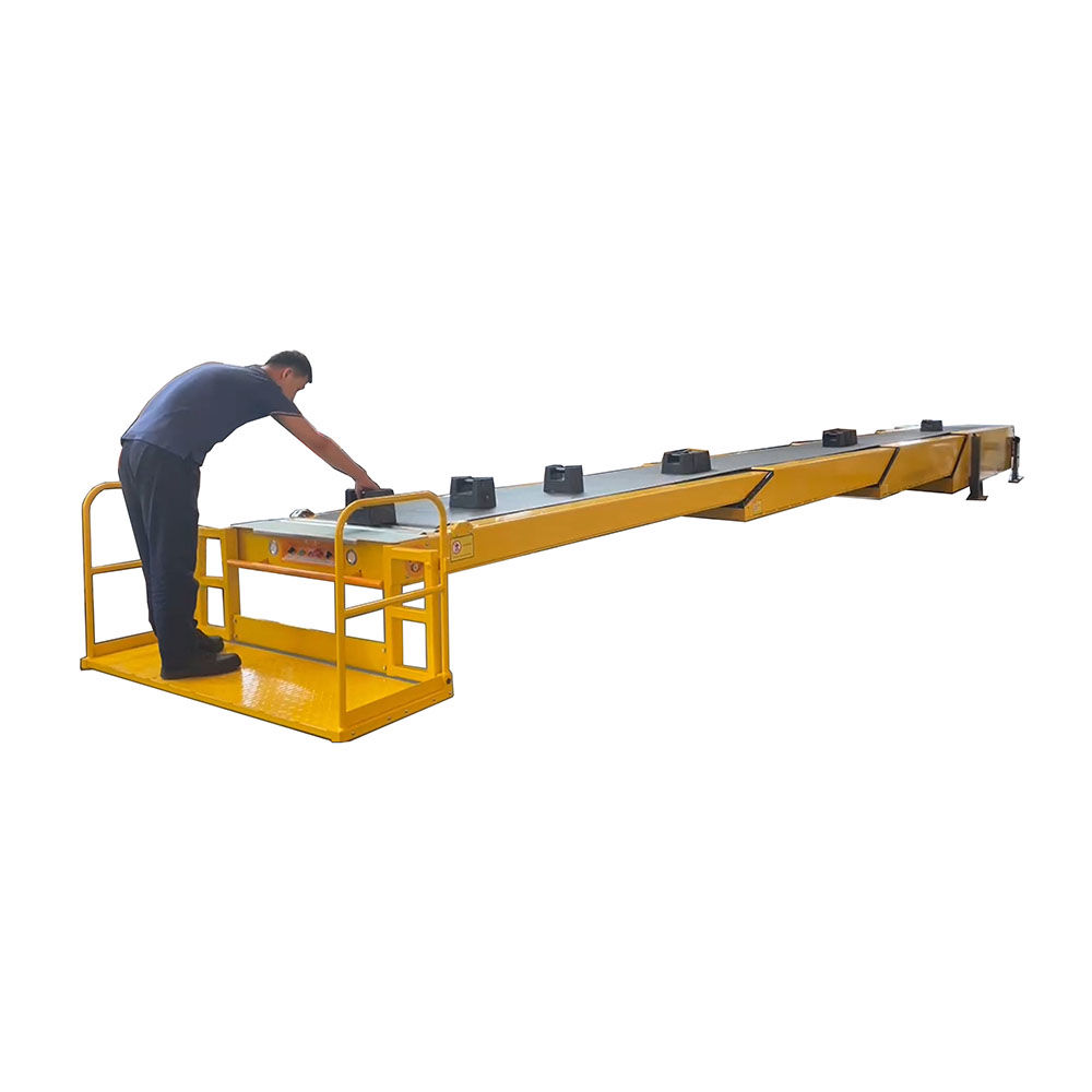 Telescopic conveyor with operator platform for unloading container