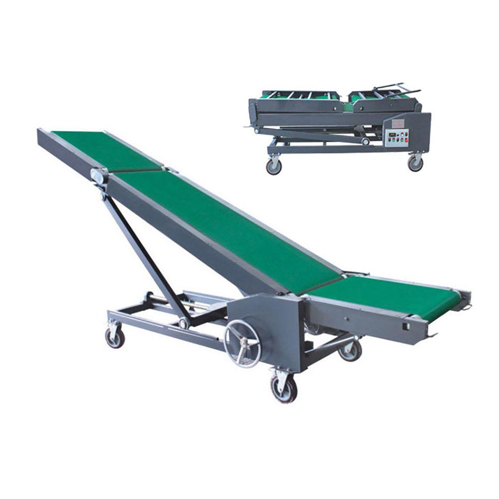 Folding conveyor belt portable adjustable loading conveyor
