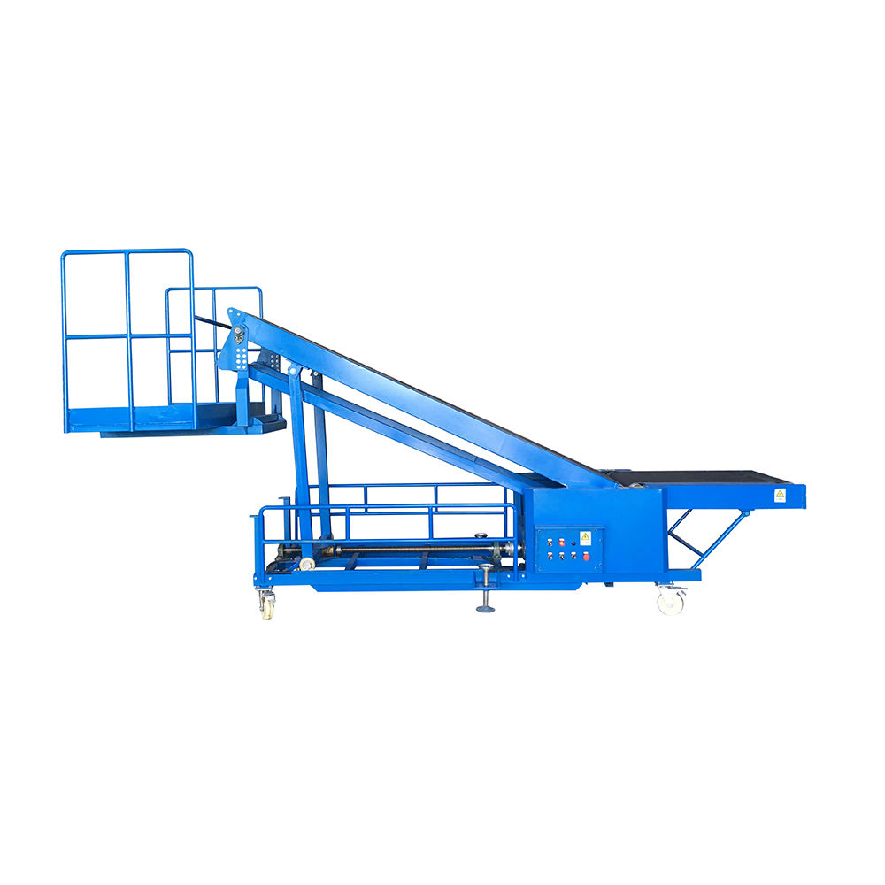 Inclined truck loading belt conveyor with operator platform