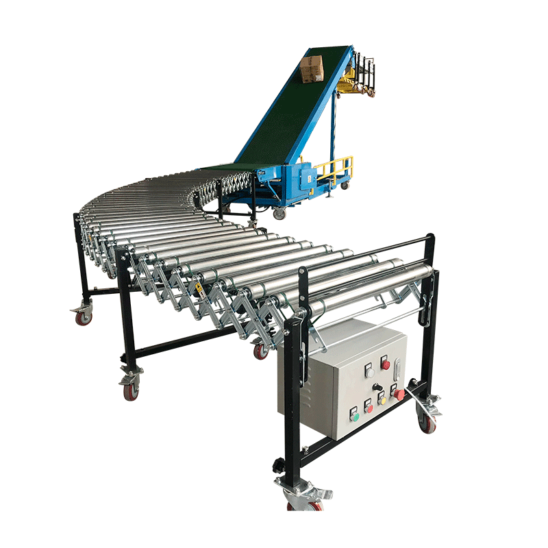 vehicle loading truck loading conveyors with flexible roller conveyor