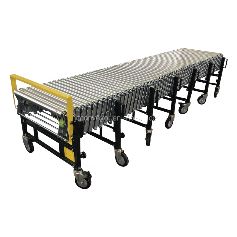 Electric flexible conveyor system for container loading and unloading