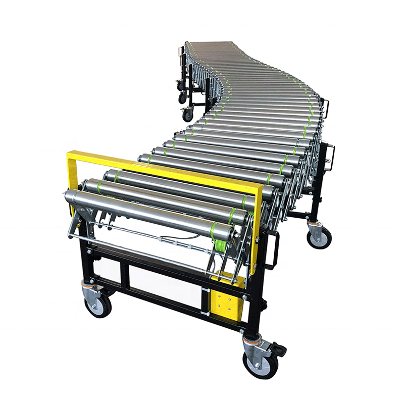 Expandable Mobile flexible Powered Roller Conveyor for warehouse loading and unloading
