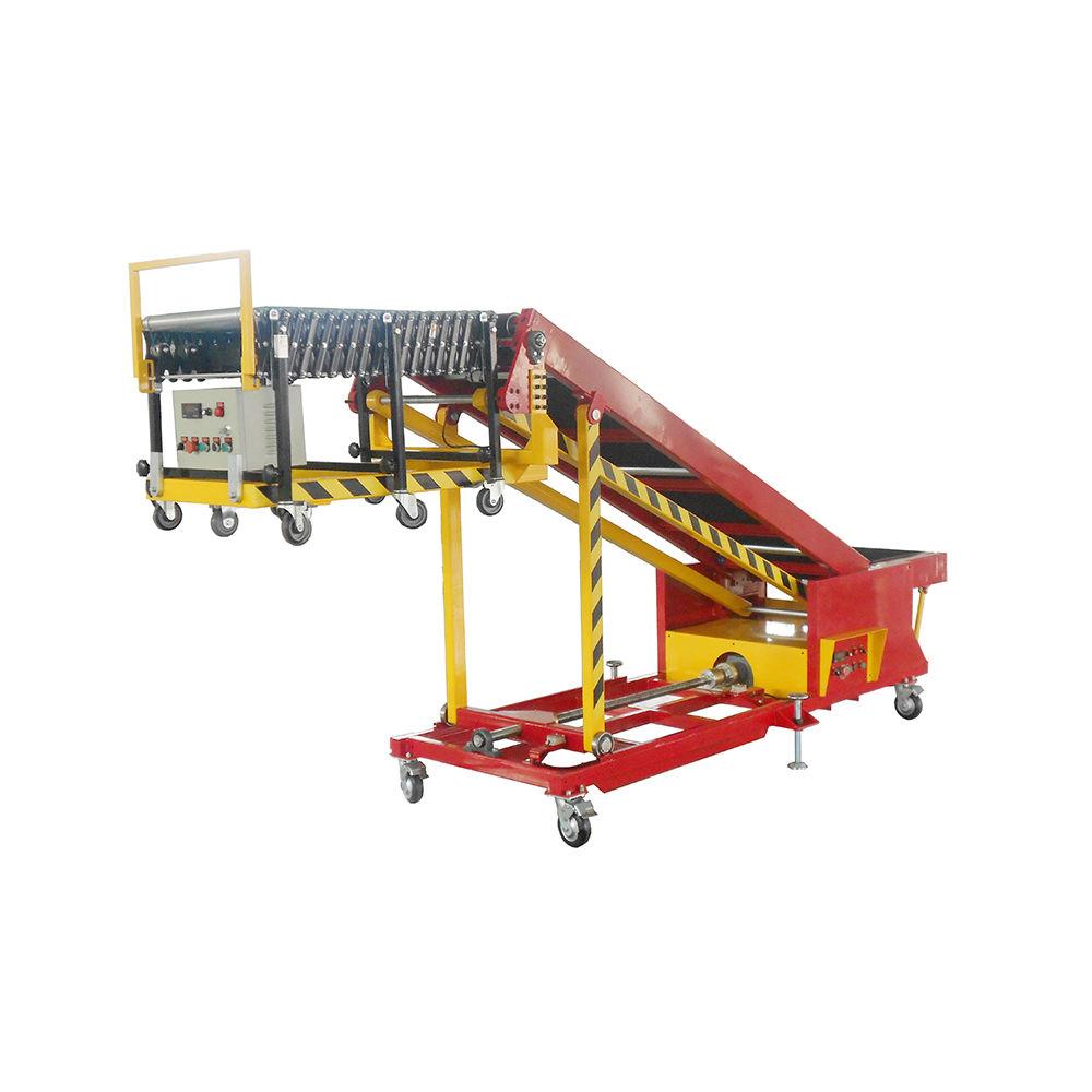Portable conveyor belt system for loading truck load