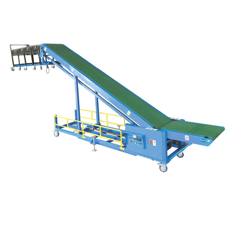 Inclined truck loading and unloading conveyor for vehicle unloading