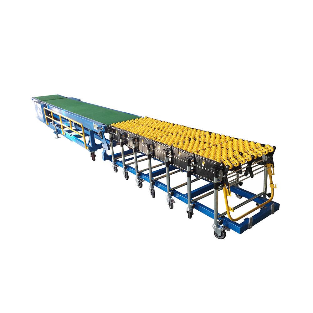 Flexible expandable skate wheel conveyor used for loading truck unloading