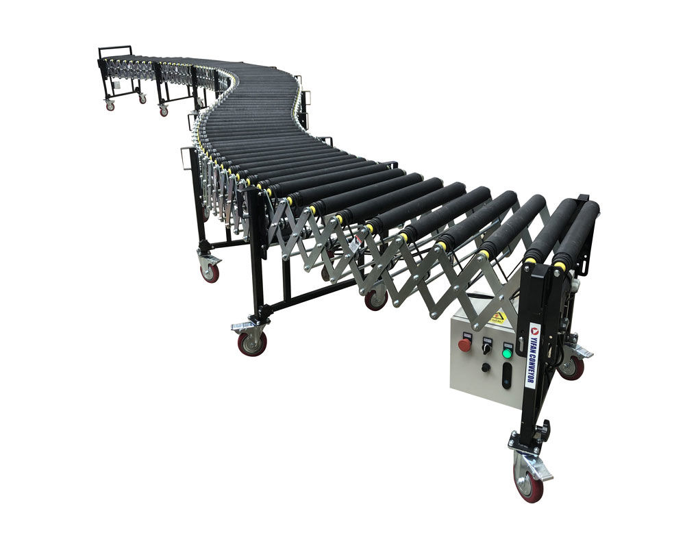 V Belt Conveyor Flexible Powered Rubber Coated Roller Conveyor