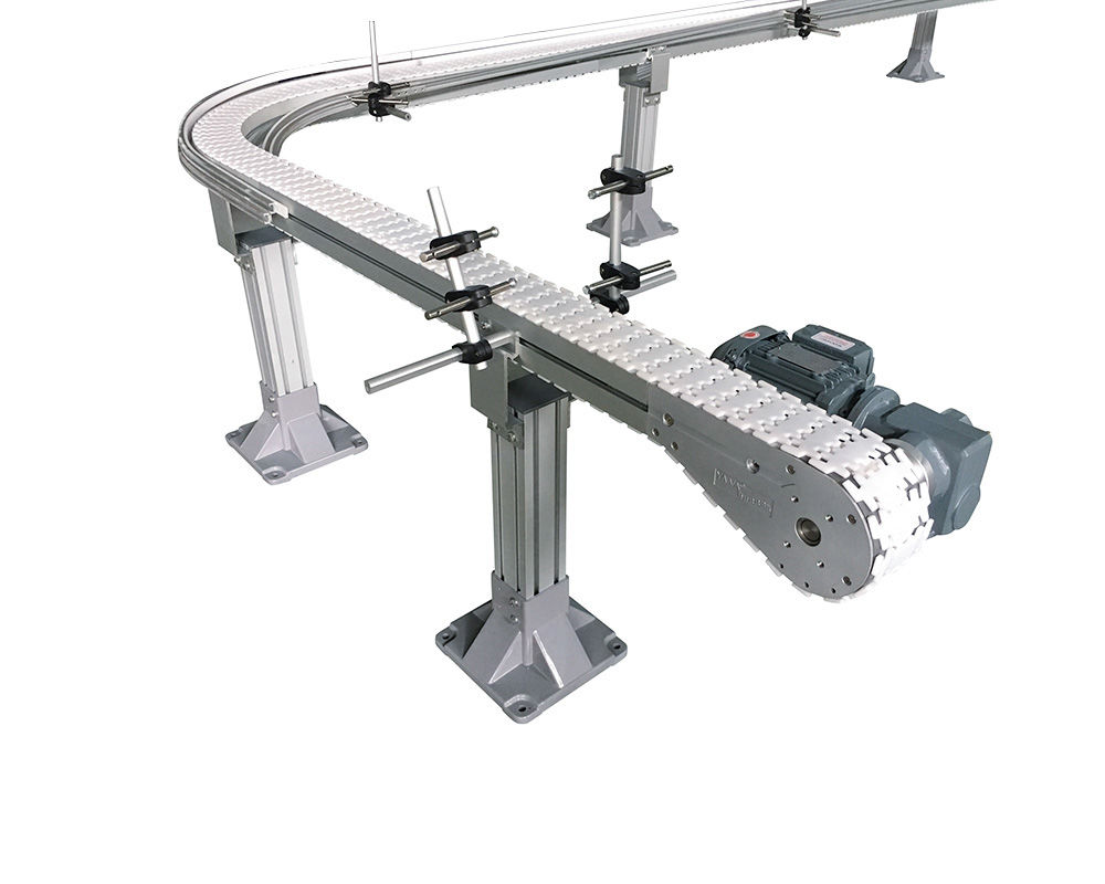 Plastic Top Chain Conveyor in Aluminum Frame