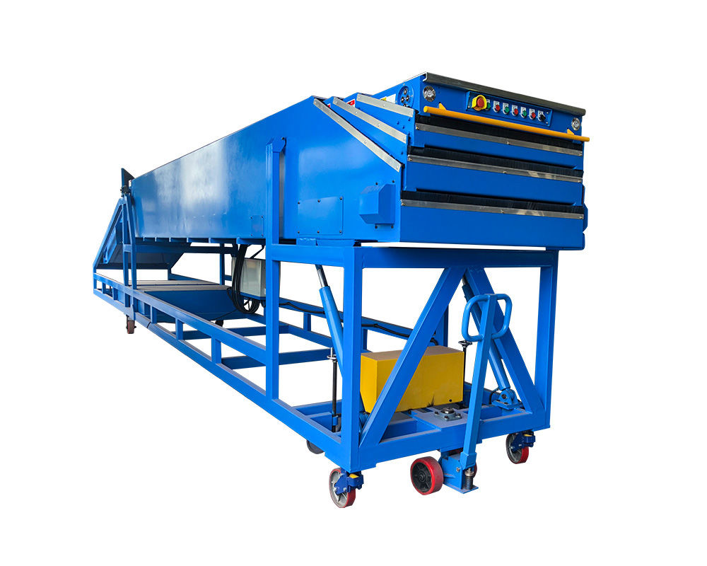 Inclined telescopic belt conveyor for loading unloading 40ft containers | ITBC-4S-6/12-800