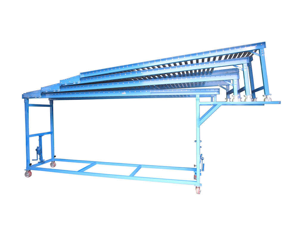 Robust Extendible Gravity Conveyor for Unloading Container Vehicles of all sizes