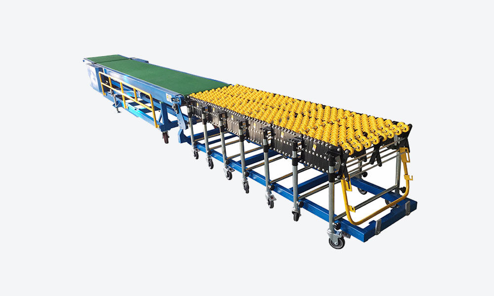Truck Loading Conveyor with 7m flexible gravity wheel conveyor