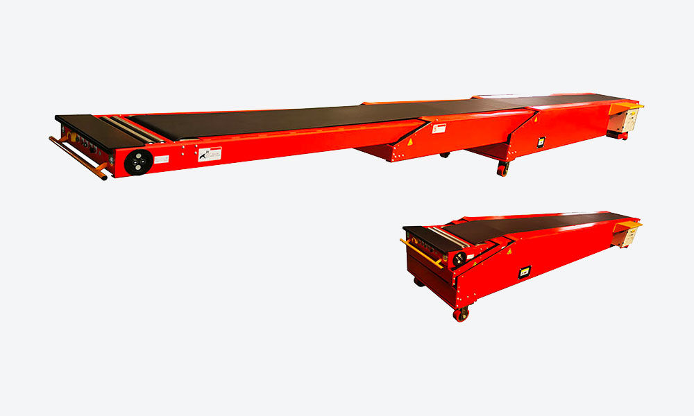 Portable telescopic belt conveyor for trailer loading unloading