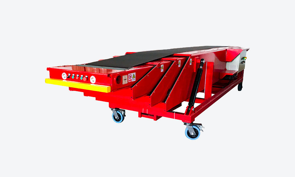 6-12m Movable telescopic belt conveyor with hydraulic lift for 40ft container loading unloading