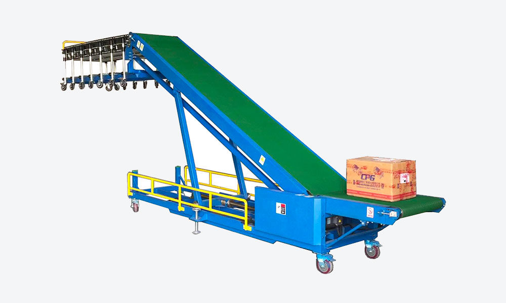 Automatic truck loading unloading conveyor with 7m flexible skate wheel conveyor