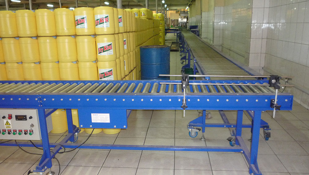 Edible oil jerry cans storage line/Powered Roller Conveyor