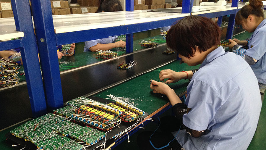 LED lights assembly line
