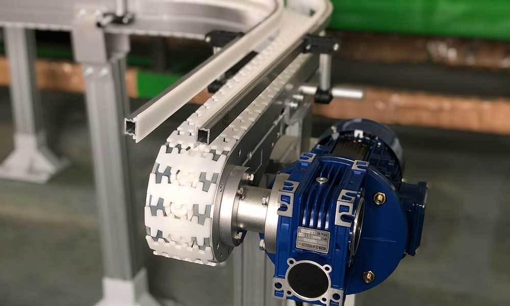 Food Industry Aluminum Plastic Top Chain Conveyor for water bottles