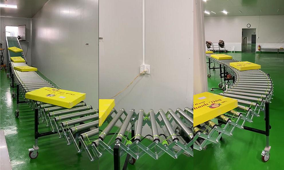 Warehouse extendable motorized roller conveyor