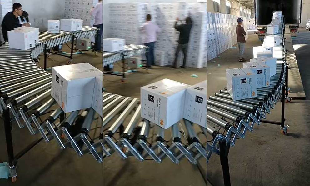 Telescopic motorized roller conveyor